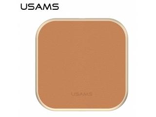 USAMS Wireless Qi Charging Pad in elegantem, stilvollen Leder braun