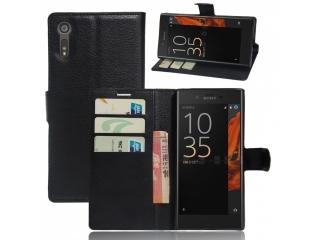 Ledertasche für Sony Xperia XZ Portemonnaie & Karten Hülle schwarz
