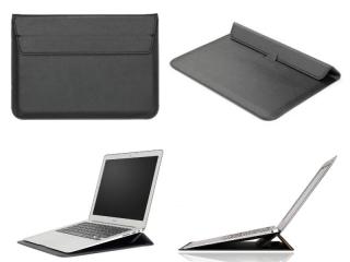 """Macbook 12"""" & Air 11"""" Leder Sleeve Tasche mit Ständer Erhöhung schwarz"""