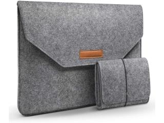 """13.3"""" Macbook Air / Pro Filz Sleeve Hülle mit kleiner Tasche hellgrau"""