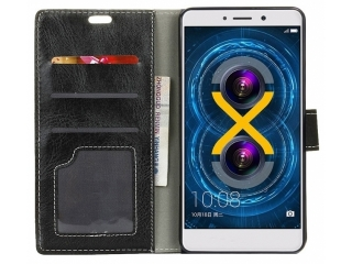 Huawei Honor 6X Ledertasche Portemonnaie Karten Etui Hülle - Schwarz