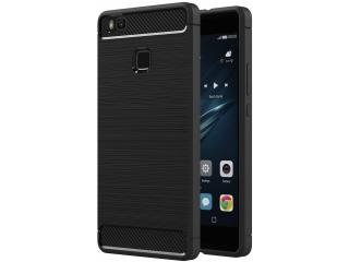 Huawei P9 Lite Gummi Hülle Thin Softcase mit Carbon Look - Schwarz
