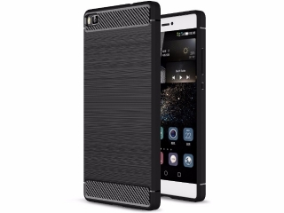 Huawei P8 Gummi Hülle Thin Softcase mit Carbon Look - Schwarz