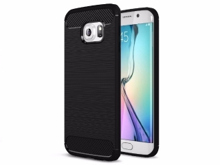 Samsung Galaxy S6 Edge Carbon Gummi Hülle Thin TPU Case Cover flexibel