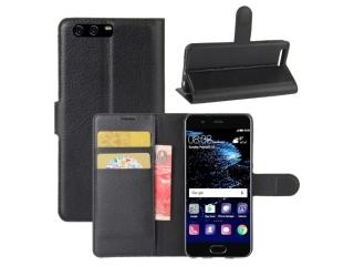 Ledertasche Huawei P10 Portemonnaie Karten Etui Schutzhülle schwarz