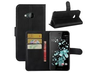 Ledertasche HTC U Play Portemonnaie Karten Etui Schutzhülle schwarz
