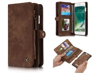 CaseMe iPhone 7/8 Plus Echtleder Portemonnaie Tasche Karten Case braun