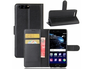 Ledertasche Huawei P10 Plus Portemonnaie Karten Schutzhülle schwarz