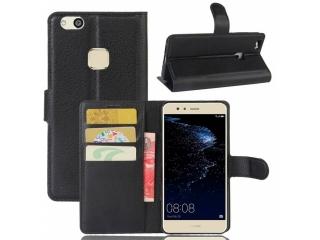 Ledertasche Huawei P10 Lite Portemonnaie Karten Schutzhülle schwarz