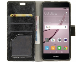 Huawei Nova Ledertasche Portemonnaie Karten Flipcase Hülle schwarz