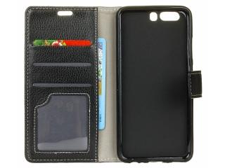 Huawei P10 Ledertasche Portemonnaie Karten Case Hülle schwarz