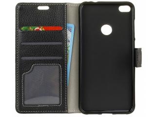 Huawei P10 Lite Ledertasche Portemonnaie Karten Case Hülle schwarz