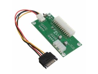 ATX 24-Pin Zweifach Netzteil Adapter Starter Board mit SATA Kabel