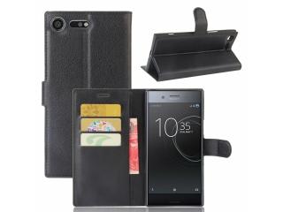 Ledertasche Sony Xperia XZ Premium Portemonnaie Schutzhülle schwarz