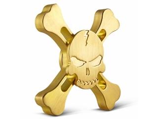 Fidget Spinner Skull and Bones Totenkopf Spinner - gold