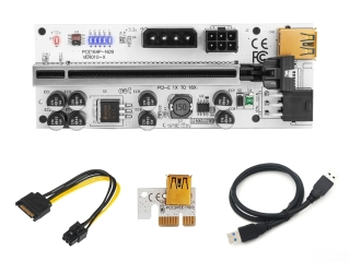 PCI-E Express Riser Card 1x 16x USB 3.0 60cm SATA Molex 6-pin weiss