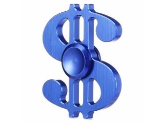 Dollar Sign Premium Fidget Spinner aus Aluminium - blau