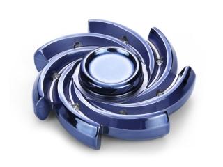 Windmill Premium Fidget Spinner aus schwerem Stahl - blau chrom