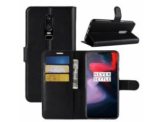 Ledertasche OnePlus 6 Portemonnaie Karten Etui Schutzhülle schwarz