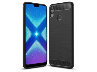 Honor 8X Carbon Gummi Hülle TPU Case Cover flexibel schwarz