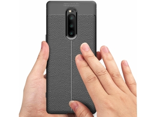 Sony Xperia 1 Leder Design Gummi Hülle TPU Case Cover flexibel