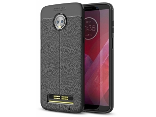 Moto Z3 Play Leder Design Gummi Hülle TPU Case Cover flexibel schwarz