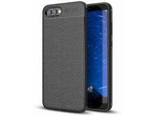 Honor View 10 Leder Design Gummi Hülle TPU Case Cover flexibel schwarz