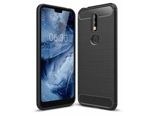Nokia 7.1 Carbon Gummi Hülle TPU Case Cover Case flexibel schwarz