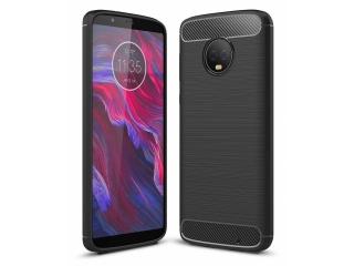 Moto G6 Plus Carbon Gummi Hülle TPU Case Cover Case flexibel schwarz