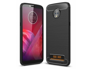 Moto Z3 Play Carbon Gummi Hülle TPU Case Cover Case flexibel schwarz