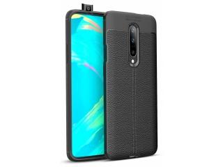 OnePlus 7 Pro Leder Design Gummi Hülle TPU Case Cover flexibel schwarz