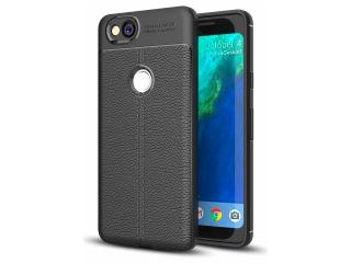 Google Pixel 2 Leder Design Gummi Hülle TPU Case Cover schwarz
