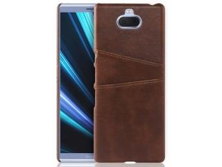 Sony Xperia 10 Leder Case Hülle für Bank & Kreditkarten braun