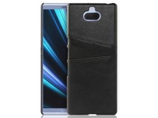 Sony Xperia 10 Plus Leder Case Hülle für Bank & Kreditkarten schwarz