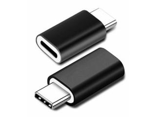 Lightning auf USB C Mini Adapter Konverter in schwarz