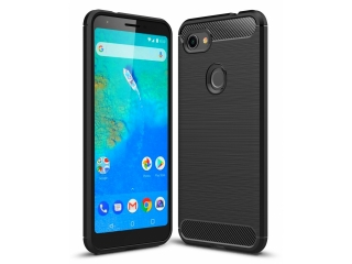 Google Pixel 3a XL Carbon Gummi Hülle TPU Case Cover flexibel schwarz