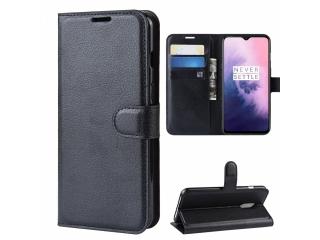 OnePlus 7 Ledertasche Portemonnaie Karten Etui Schutzhülle schwarz