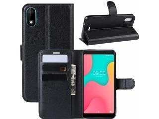 Wiko Y60 Leder Hülle Portemonnaie Karten Ledertasche Flip Case schwarz