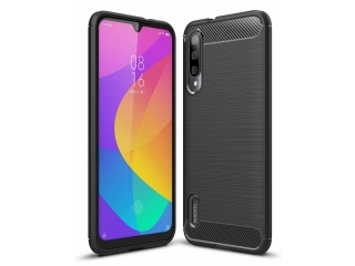 Xiaomi Mi A3 Carbon Gummi Hülle TPU Thin Case Cover flexibel schwarz