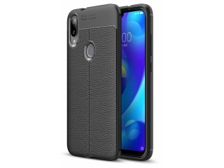 Xiaomi Mi Play Leder Design Gummi Hülle TPU Thin Case flexibel schwarz