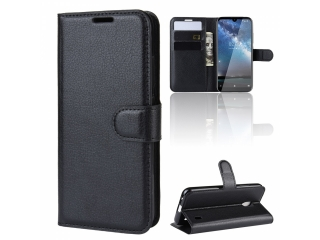 Nokia 2.2 Leder Hülle Portemonnaie Karten Ledertasche schwarz