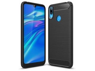 Huawei Y7 2019 Carbon Gummi Hülle TPU Thin Case Cover flexibel schwarz
