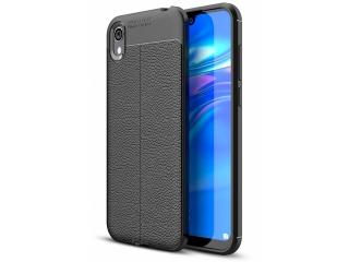 Huawei Y5 2019 Leder Design Gummi Hülle TPU Thin Case flexibel schwarz