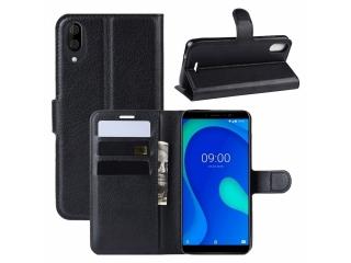 Wiko Y80 Leder Hülle Portemonnaie Karten Ledertasche schwarz