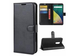 Wiko View XL Leder Hülle Portemonnaie Karten Ledertasche schwarz