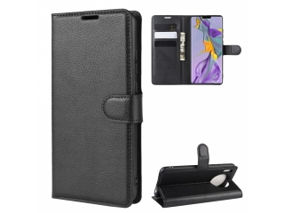 Huawei Mate 30 Pro Leder Hülle Portemonnaie Karten Ledertasche schwarz