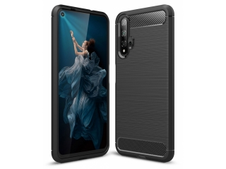 Honor 20 Carbon Gummi Hülle TPU Thin Case Cover flexibel schwarz