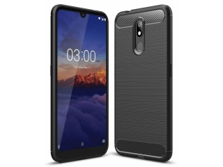 Nokia 3.2 Carbon Gummi Hülle TPU Thin Case Cover flexibel schwarz