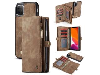 CaseMe iPhone 11 Echtleder Portemonnaie Karten Hülle Etui Case braun