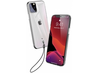 iPhone 11 Pro Max Gummi Hülle mit Trageschlaufe Transparent Clear Case